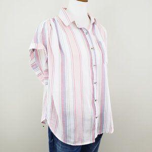 Japna Striped Button Down Top Size XL